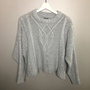 Aerie Light Blue Cable Knit Sweater